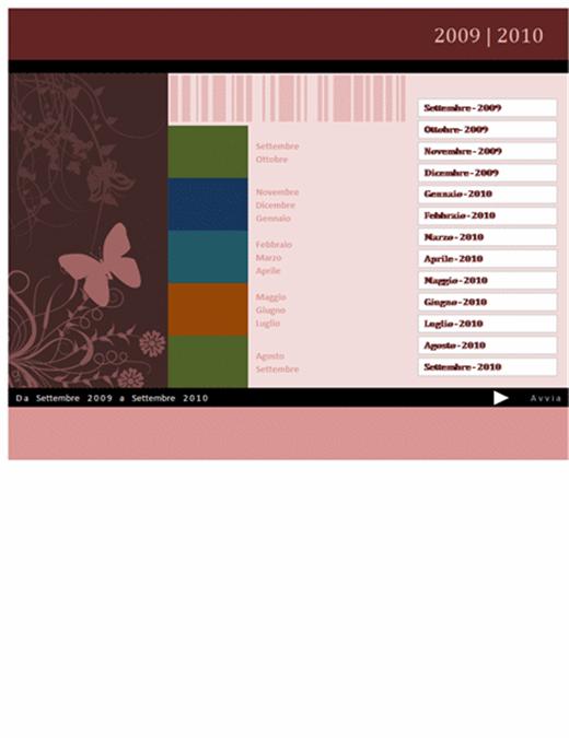 Calendario accademico o fiscale 2009-2010 (settembre-settembre, lunedì-domenica)