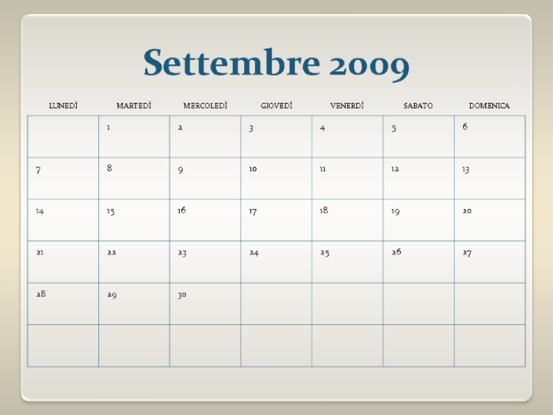 Calendario accademico 2009-2010 (13 pagine, lunedì-domenica)