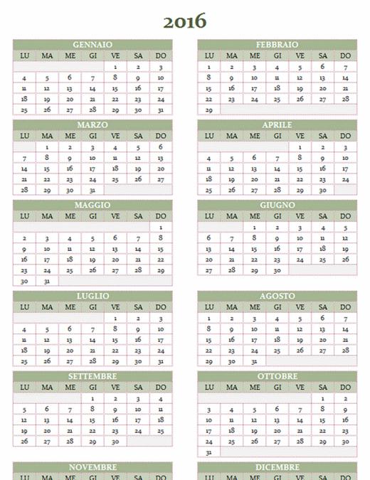 Calendario annuale 2016-2025 (lun-dom)