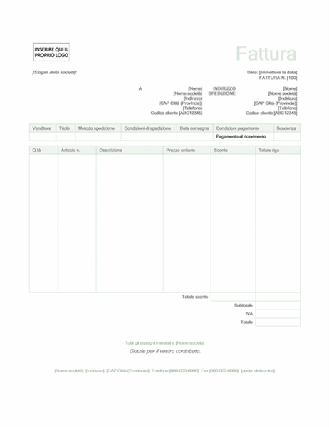 Fattura di vendita (set di schemi Verde)