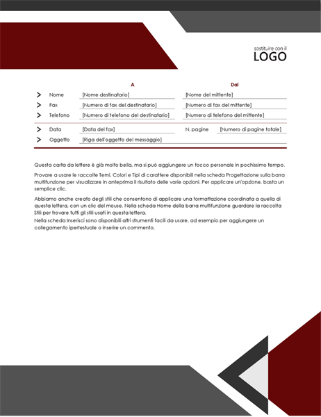 Copertina fax angoli moderni