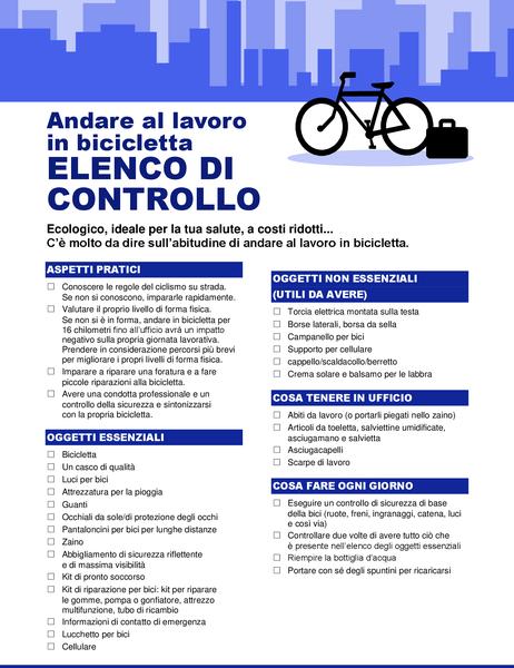 Elenco di controllo per gli spostamenti in bici