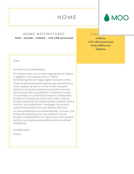Lettera di presentazione concisa e immediata, progettata da MOO