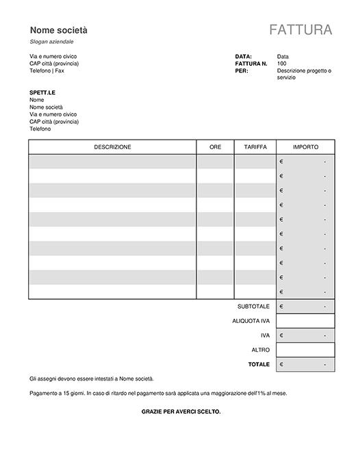 Fattura per servizi con calcoli IVA