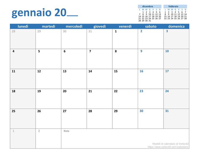 Calendario mensile per qualsiasi anno