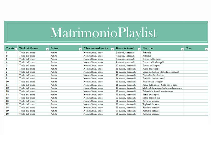 Playlist di matrimonio