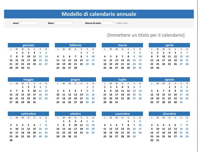Calendario annuale (orizzontale)