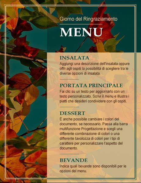 Menu del Giorno del Ringraziamento con foglie autunnali