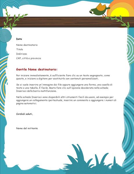 Carta intestata con uccellino dei cartoni animati