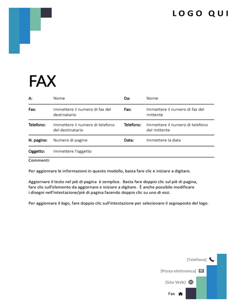 Copertina fax passaggi blu