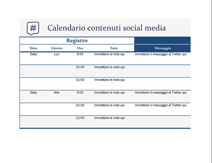 Calendario contenuti social media