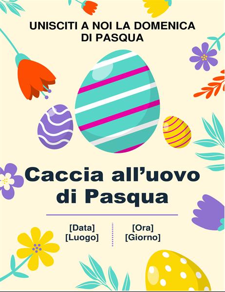 Volantino per la caccia all'uovo di Pasqua con colori primaverili