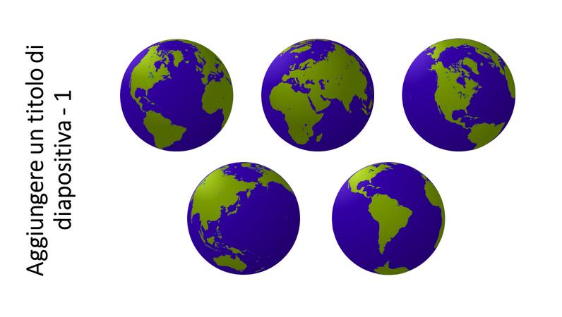 Elemento grafico di cinque visualizzazioni di un globo