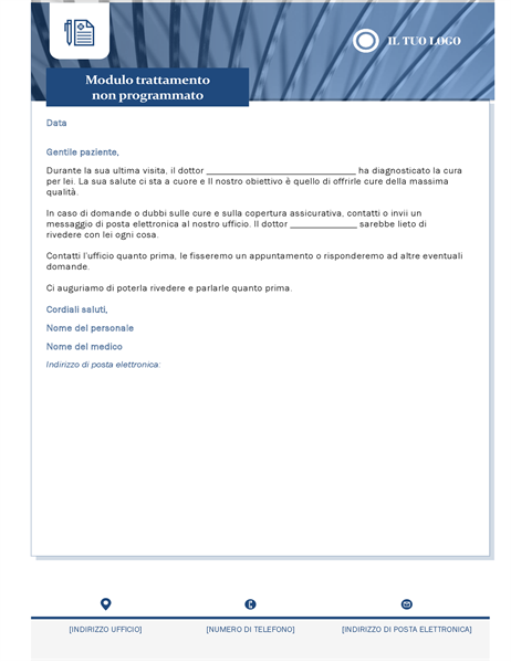 Lettera per trattamento non pianificato di assistenza sanitaria