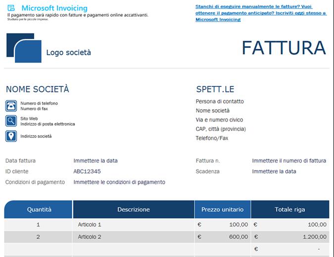 Fattura standard con Microsoft Invoicing