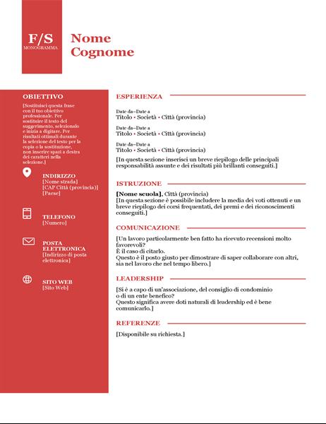 Curriculum con monogramma in grassetto