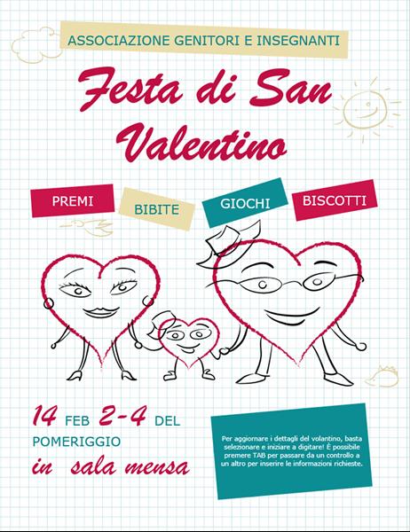 Volantino di San Valentino con cuori a cartone animato
