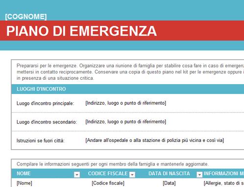Piano di emergenza familiare