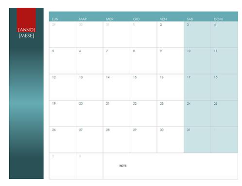 Calendario per qualsiasi anno