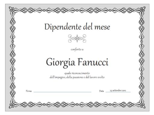 Certificato, dipendente del mese (schema con catenella grigia)