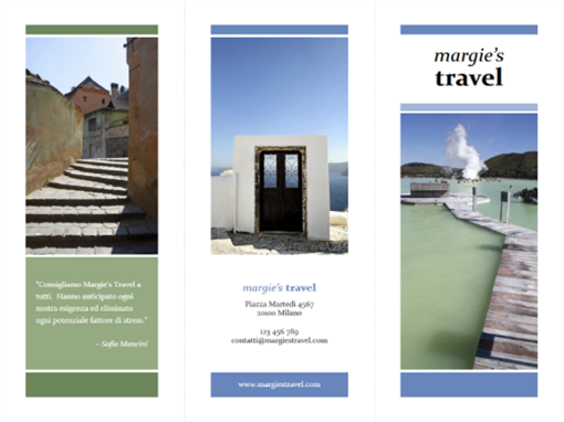 Brochure di viaggio pieghevole in tre parti (blu e verde)