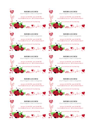 Biglietti da visita (coccinelle e cuori, centrato, 10 per pagina)