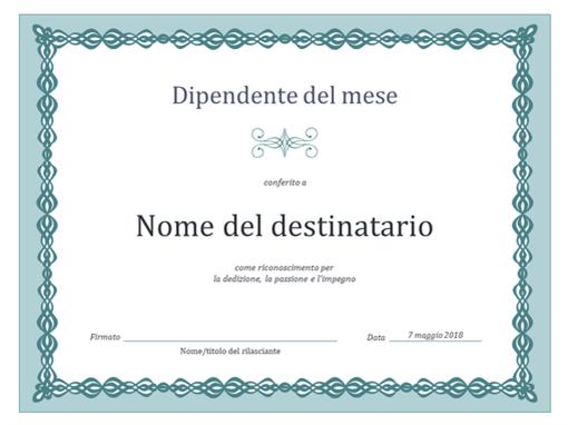 Certificato per dipendente del mese (schema con catenella blu)