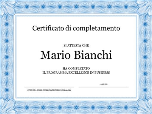 Certificato di completamento (blu)