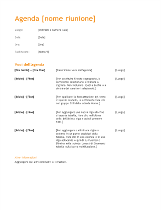 Agenda riunione aziendale (schema arancione)
