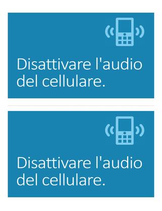 Poster per ricordare di disattivare l'audio del cellulare (blu)