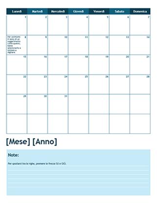 Calendario accademico mensile (con inizio di lunedì)