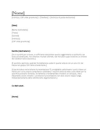 Lettera di presentazione per curriculum