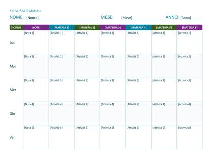 Programma attività settimanali