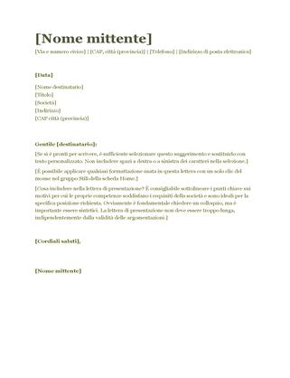 Lettera di presentazione per curriculum (verde)