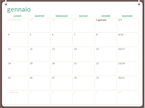 Calendario 2020 Primo Semestre Da Stampare Pdf.Calendari Office Com