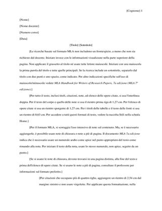 Documento di ricerca in stile MLA