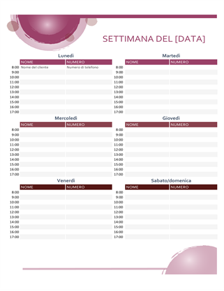 Calendario appuntamenti Tonalità di rosa