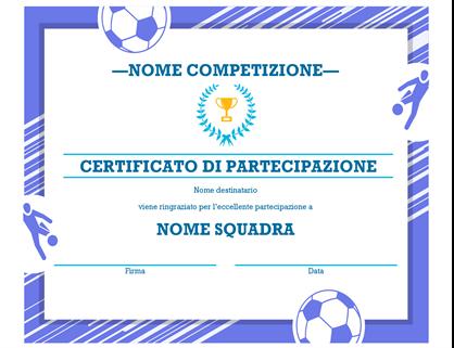 Certificato per premi sportivi