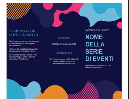 Brochure evento con forme vivaci