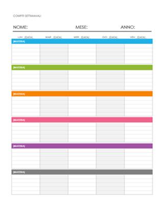 Calendario di assegnazione settimanale