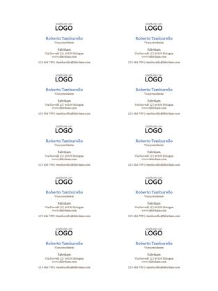 Biglietti da visita, layout orizzontale con logo (10 per pagina)
