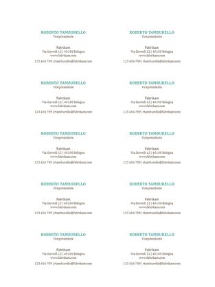 Biglietti da visita, layout orizzontale senza logo (10 per pagina)