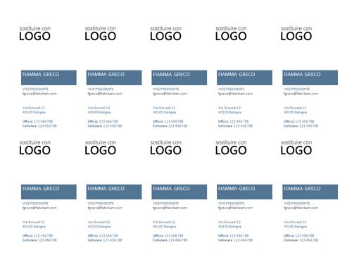 Biglietti da visita, layout verticale con logo (10 per pagina)