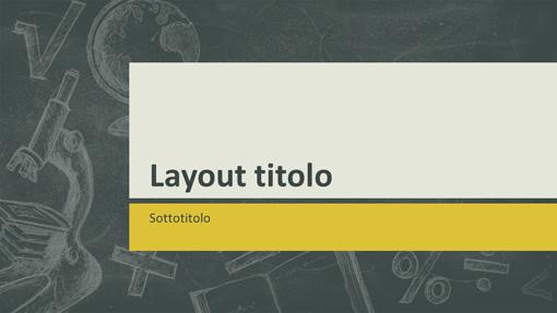 Presentazione di argomenti didattici, design con illustrazioni in stile lavagna (widescreen)