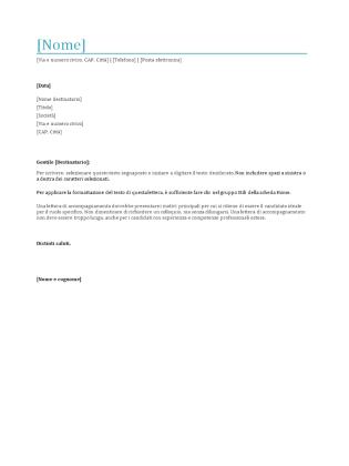 Lettera Di Presentazione Per Curriculum Templates