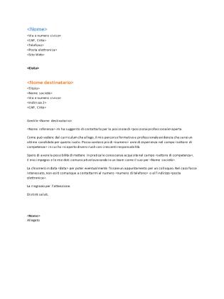 Lettera di presentazione curriculum funzionale (corrisponde al curriculum funzionale)