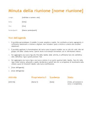 Minuta della riunione (schema arancione)
