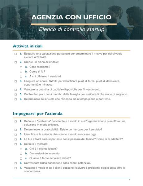 Elenco di controllo startup per piccole imprese