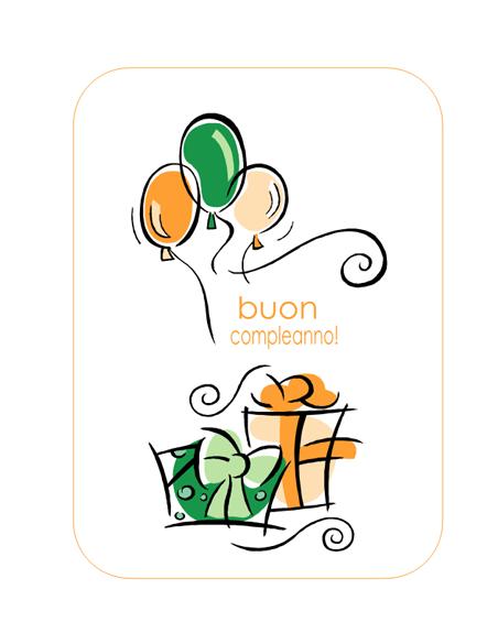 Biglietto di auguri di compleanno (con palloncini)