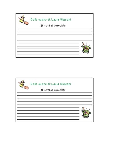 Schede di ricette (personalizzate, 2 pagine)